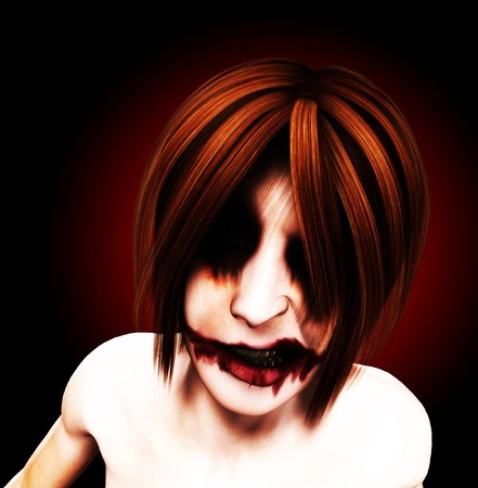 A evil and psychotic and sinister female clown.