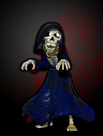 A cartoon version of the Grim reaper.  photo