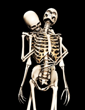 A skeleton that is being caught by another skeleton. Stock Photo - 8106469