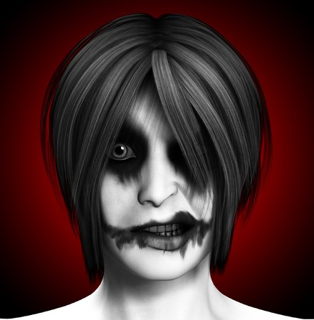 Close up image of a psychotic female clown.  Stock Photo