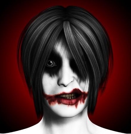 psychotic: Close up image of a psychotic female clown.  Stock Photo