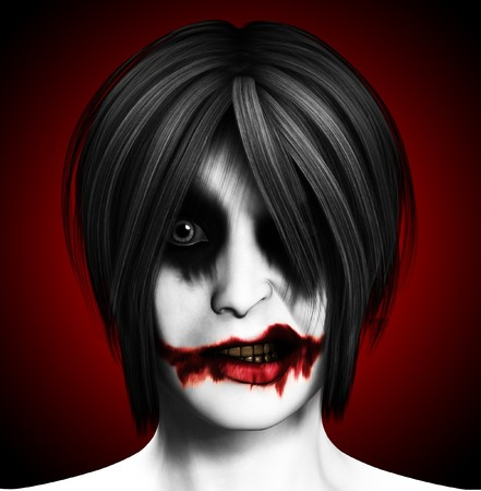 vengeful: Close up image of a psychotic female clown.  Stock Photo