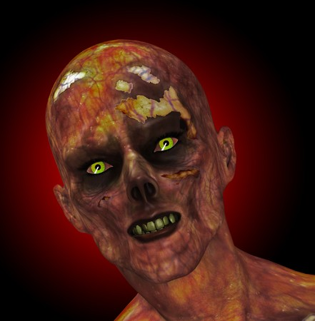 moldy: A close up of a moldy looking zombie.  Stock Photo