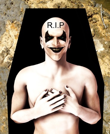 clownophobia: An image of a dead evil clown in a coffin.