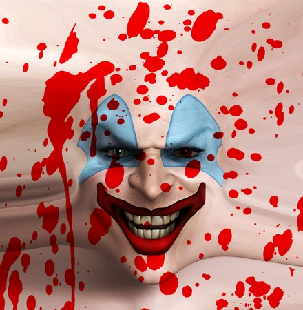 A sinister clown face covered in blood.