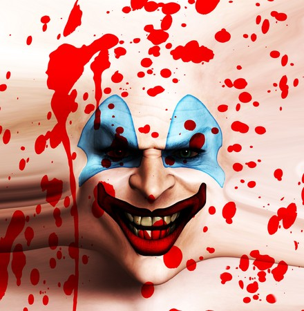 clownophobia: Una cara de payaso siniestro cubierto en sangre.  Foto de archivo