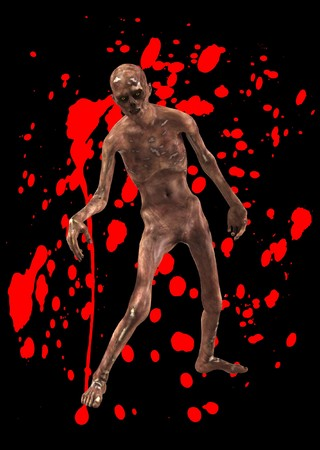 A horrible walking zombie with added blood. Stock Photo - 8106459