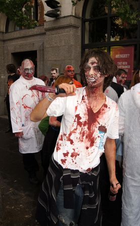 LONDON - October 30: Zombies at the 2010 London Zombie Walk October 30, 2010 in Chinatown London, England.