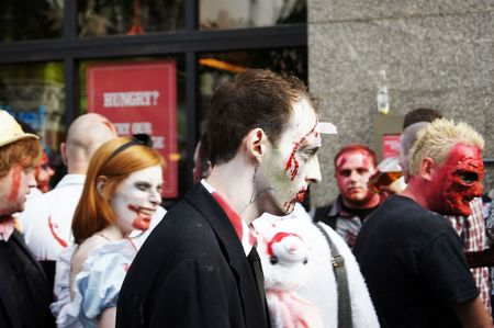 eventful: LONDON - October 30: Zombies at the 2010 London Zombie Walk October 30, 2010 in Chinatown London, England.                     Editorial