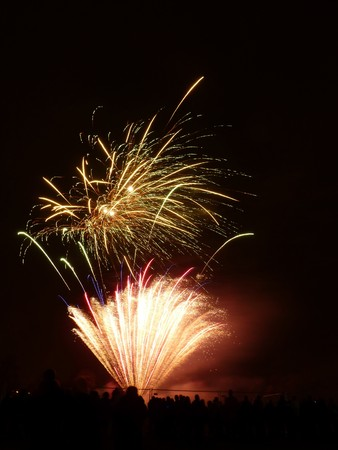 guy fawkes night: Fireworks celebrating Guy Fawkes night in Barkingside recreational ground.