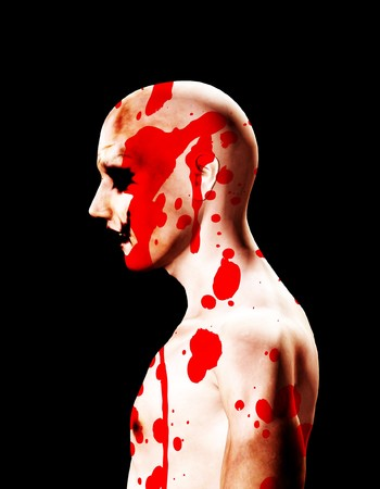 vengeful: An image of a sinister psychopath covered in blood.