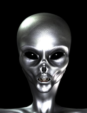 sinister: A sinister looking silver skinned alien head.
