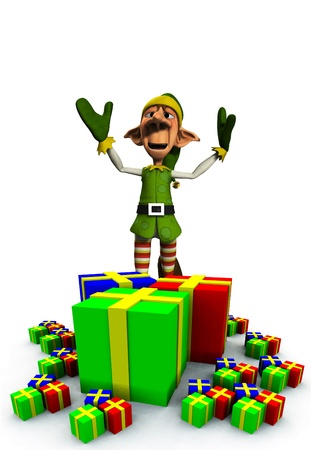 exultant: A Christmas Elf with a load of presents and gifts.