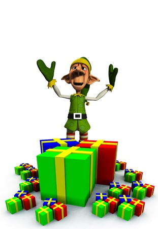 contended: A Christmas Elf with a load of presents and gifts.