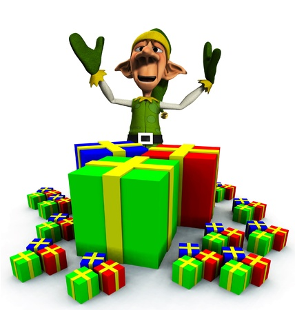 A Christmas Elf with a load of presents and gifts.