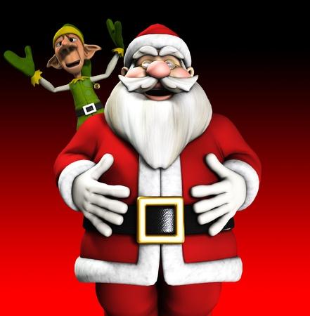 jovial: Santa Claus and a Elf celebrating the Christmas holiday.  Stock Photo