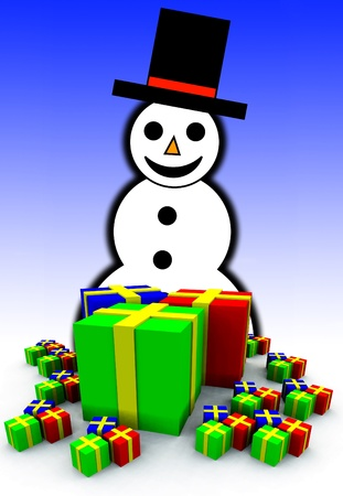contended: A snowman with a collection of Christmas presents.