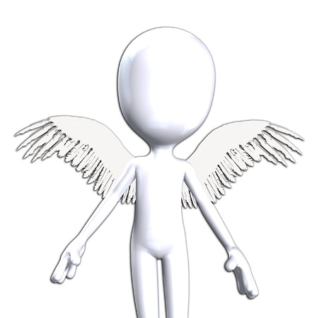 monotone holy: Conceptual image about being good featuring an angelic figure.  Stock Photo