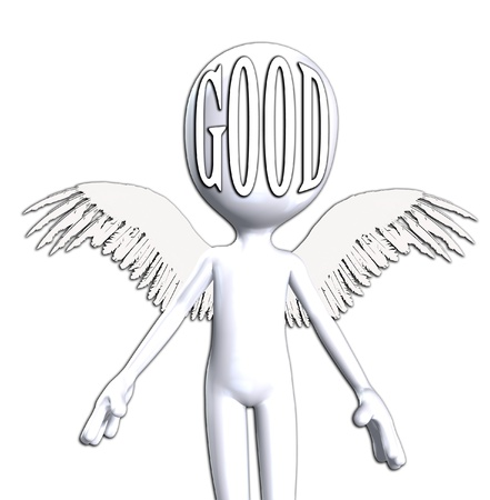 Conceptual image about being good featuring an angelic figure.  Stock Photo