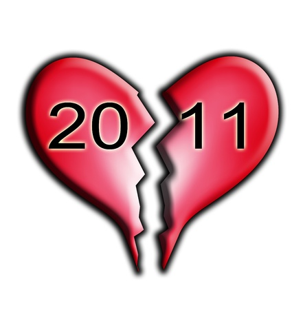 A broken heart representing hate and loathing of the new year.    photo