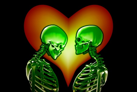 A pair of skeletons with a love heart behind them.  photo