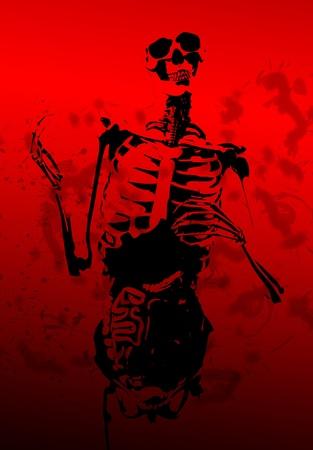 A 2D illustration of a skeleton covered in blood.  Stock Illustration - 8931118
