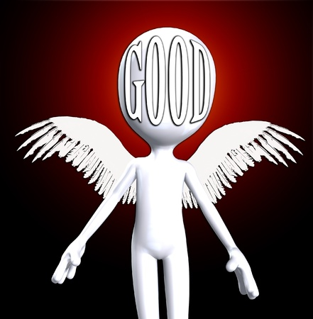 An angelic cartoon figure representing heavily and good concepts.