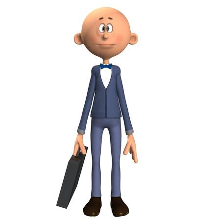bald cartoon: A bald cartoon businessman holding his briefcase.