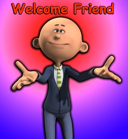 welcoming: A cartoon man who is being welcoming.