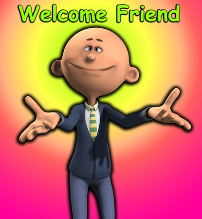 A cartoon man who is being welcoming.  photo