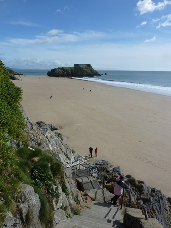 A view of the beach in Tenby from the perspective of the cliff. Stock Photo - 9448464