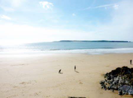 A view of the beach in Tenby from the perspective of the cliff. Stock Photo - 9448369