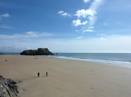 A view of the beach in Tenby from the perspective of the cliff. Stock Photo - 9448371