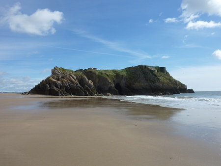A view of the massive costal rock future on Tenby beach Stock Photo - 9448497