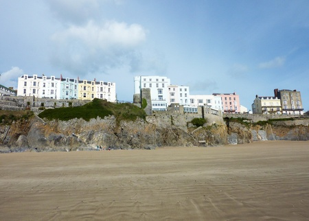 tenby wales: A view of the many buildings located on the Tenby Cliffs