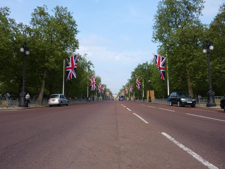 LONDON - April 26: The Mall Decorated With Patriotic Union Jack Flags. April 26, 2011 in Westminster London, England. Stock Photo - 9434123