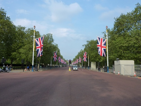 LONDON - April 26: The Mall Decorated With Patriotic Union Jack Flags. April 26, 2011 in Westminster London, England.