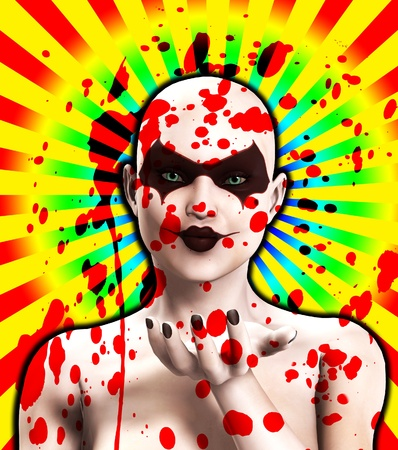 A blood covered psycho female clown that is blowing a kiss.