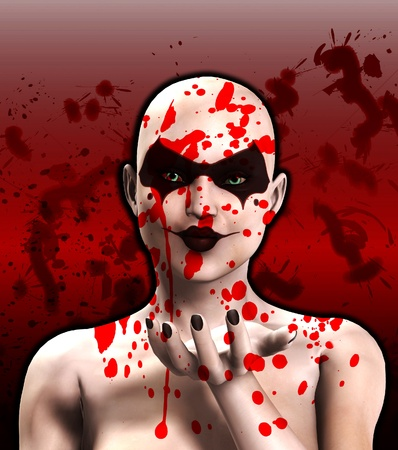 clownophobia: A blood covered psycho female clown that is blowing a kiss.