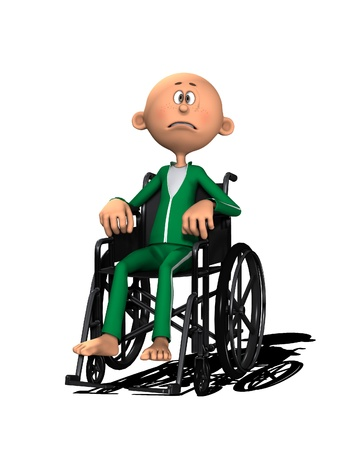 A disabled cartoon man in a wheelchair. Standard-Bild