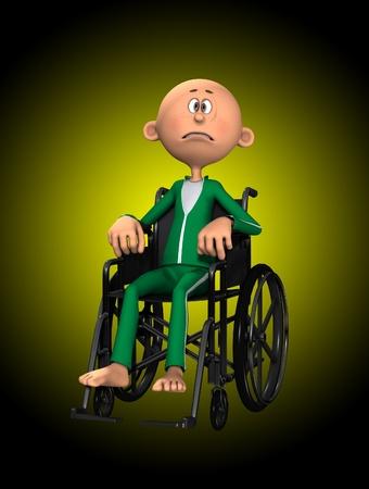 sorrowful: A disabled cartoon man in a wheelchair. Stock Photo