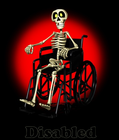 adult bones: Concept image showing a disabled skeleton in a wheelchair.