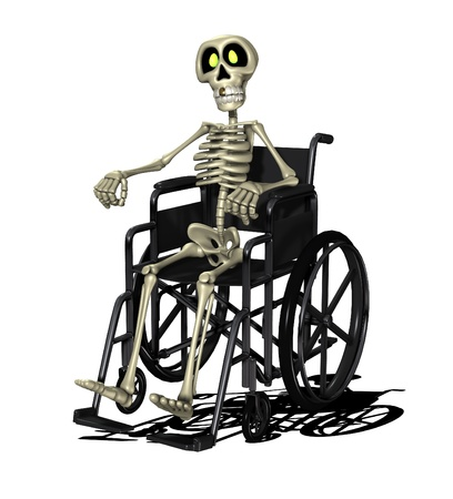 Concept image showing a disabled skeleton in a wheelchair.