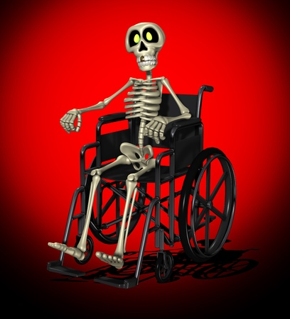 wheel chair: Concept image showing a disabled skeleton in a wheelchair.