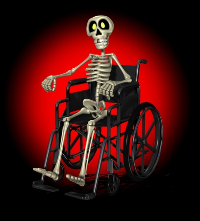 terrifying: Concept image showing a disabled skeleton in a wheelchair.