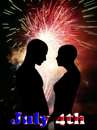 Two people falling in love during American independence. Stock Photo - 9928626