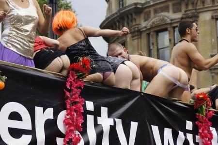 LONDON - July 2: Gay Pride 2011 In Trafalgar Square July 2nd, 2011 in London, England.  Stock Photo - 9891401