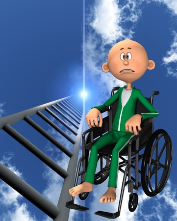 stepladder: Concept image about discrimination against people in wheelchairs.