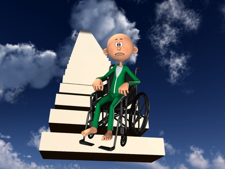 Concept image about discrimination against people in wheelchairs. photo