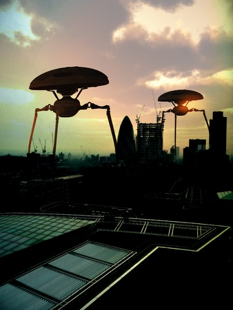 Some alien tripods within a London Cityscape.  photo